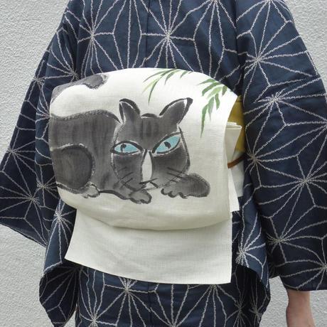 麻八寸帯「黒猫」