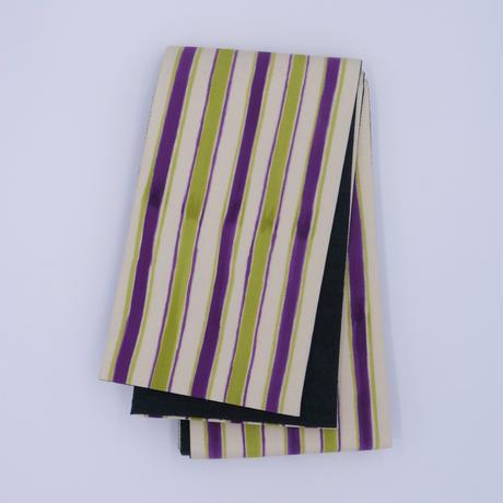 半巾帯「手描き縞】紫