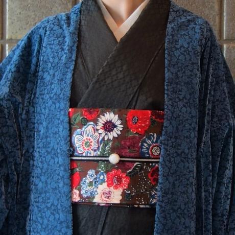 変り羽織(単衣)「ビロードフラワー」ブルー