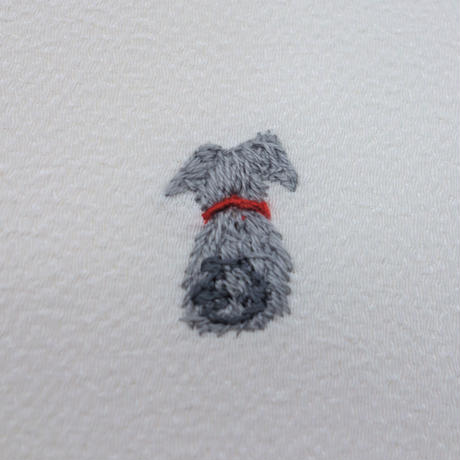 刺繍半衿「犬」