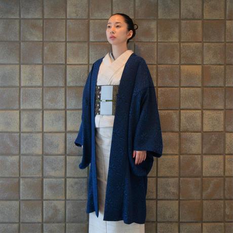 変り羽織(単衣)「ステッチジャガード」紺