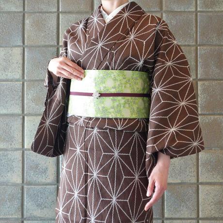 麻きもの「麻の葉刺繍/茶」
