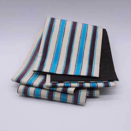 半巾帯「手描き縞/ブルー」