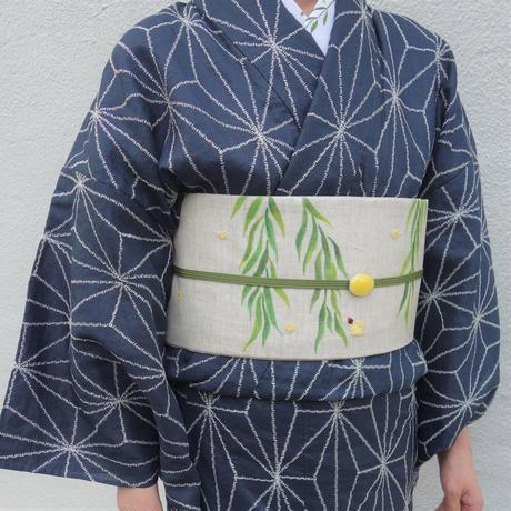 麻きもの「麻の葉刺繍/紺」
