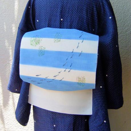 夏きもの「麻縮みドット刺繍」
