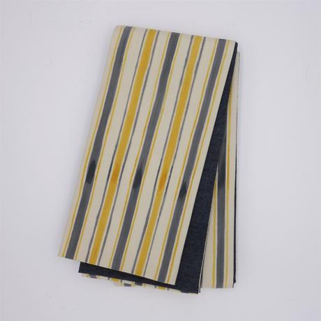 半巾帯「手描き縞/イエロー」