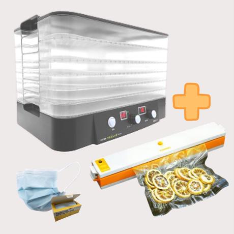 《お得なセット》【マスクプレゼント!】家庭用食品乾燥機 プチマレンギ スケルトン   +家庭用真空パック器フードメイト TTM-435ST-M(FMS)