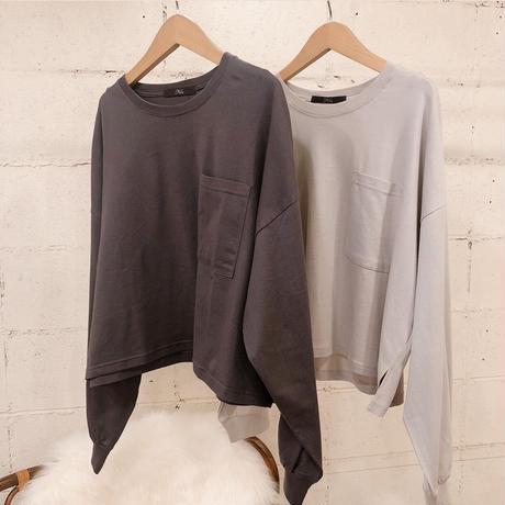 刺繍ショート丈長袖Tシャツ