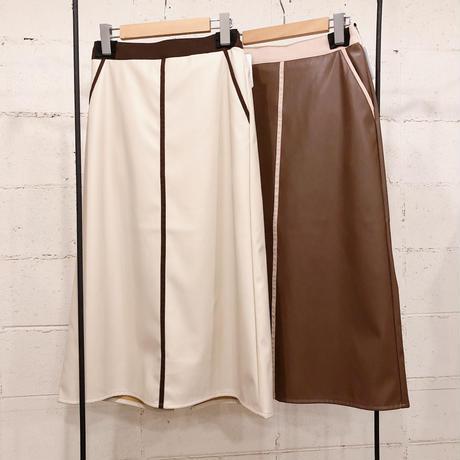 エコレザーパイピングスカート
