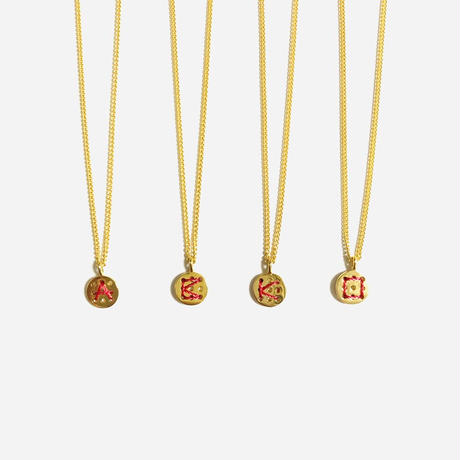Alphabet button necklace (Red)