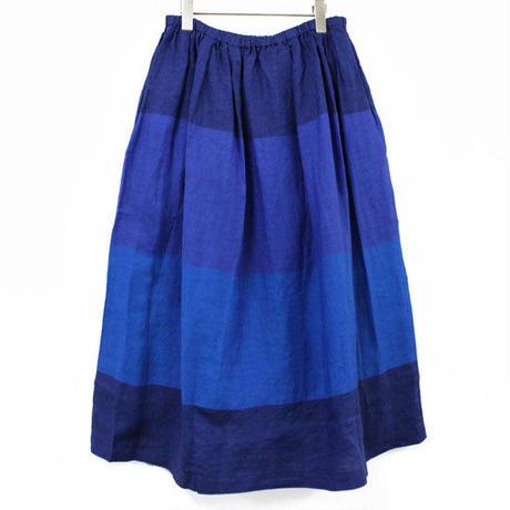 blue willow / リネンギャザーボーダーロングスカート