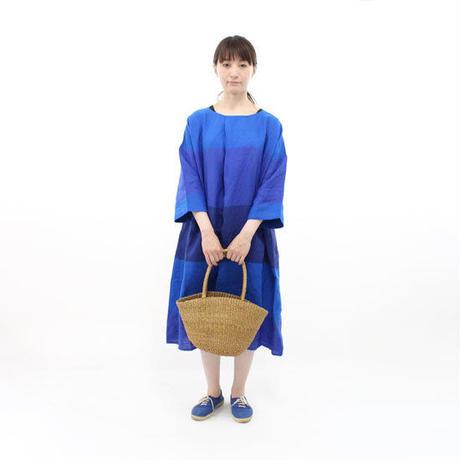 blue willow / リネン7分袖ボーダータック2WAYワンピース