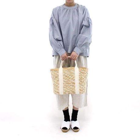 mumokuteki select / ギャザースリーブスタンドカラーシャツ