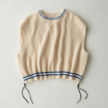 Side Zip Over Size Knit  Vest (Beige)