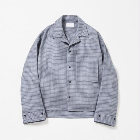Wide sleeve open collar shirt (Blue gun club check)