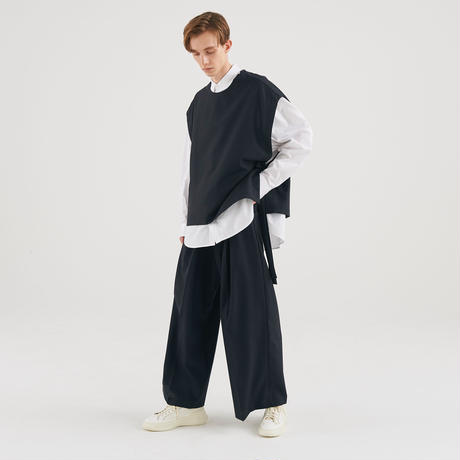 WOOL 2TUCK WIDE SLACKS(DARK NAVY)