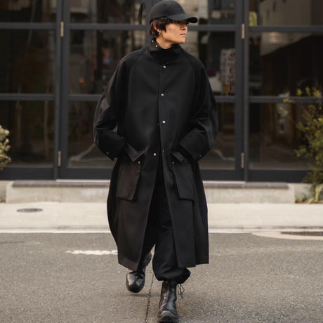 【2.10[wed]20:00‐PRE‐ORDER】STAND COLLAR OVER COAT(BLACK)
