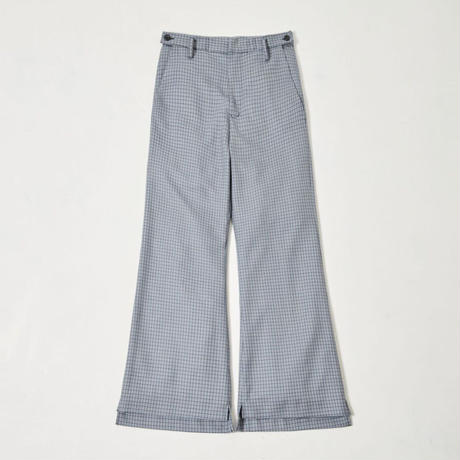 Both sides slit flare pants(Blue gun club check)