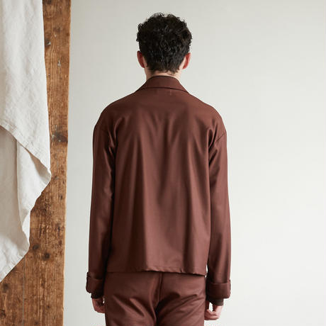 Wide sleeve open collar shirt (Brown)