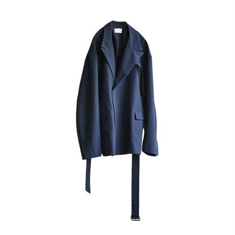 BELTED DOUBLE JACKET(ASH NAVY)