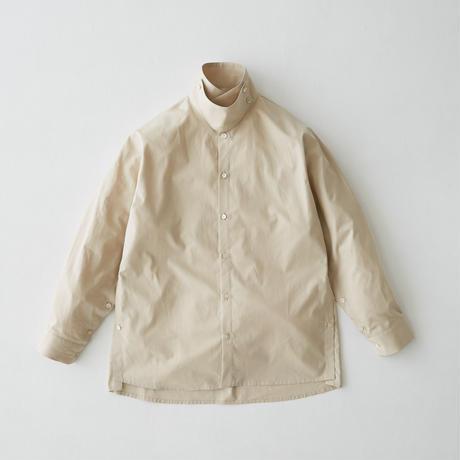 Oversize standcollar slit shirt (Beige)