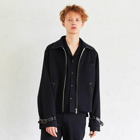 Leather Belted Drizzler Blouson(Navy)