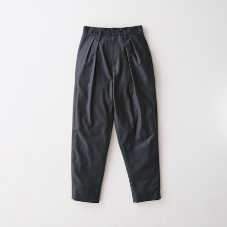 Viegin wool 2 tack tapered slacks  (Navy)