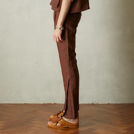 Linen flare slit pants(Brown)