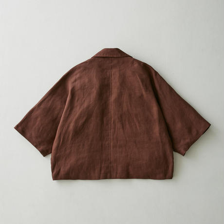 Linen dolman half sleeve jacket(Natural)