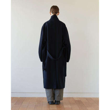 【12.23[wed]20:00‐PRE‐ORDER】STAND COLLAR LAMB WOOL  COAT (NAVY)