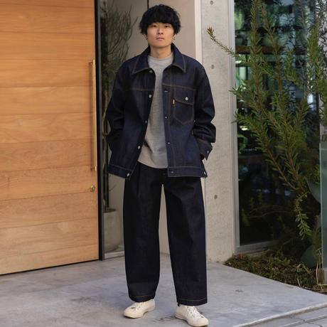 【1.27[wed]20:00‐PRE‐ORDER】DENIM WIDE TAPERED TROUSERS  (INDIGO RIGID)