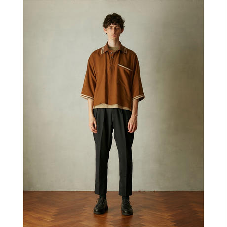 Tencel oversize poloshirt(Brown)