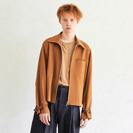 Leather Belted Drizzler Blouson(Camel)