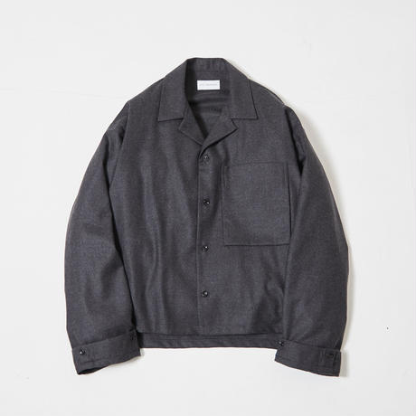 Wide sleeve open collar shirt (Charcoal)