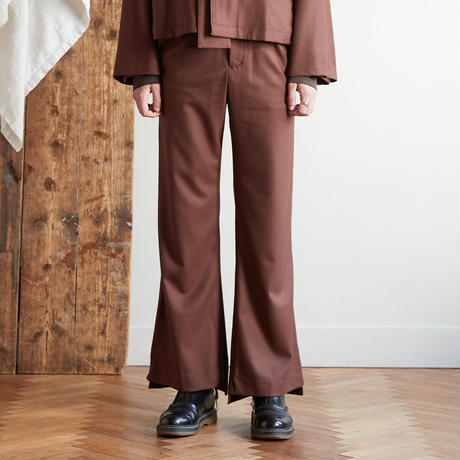 Both sides slit flare pants(Brown)