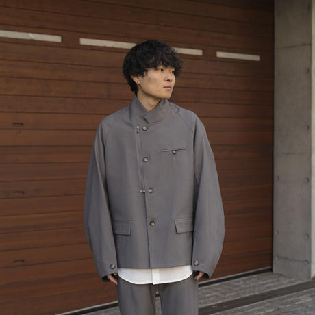 【2.24(wed)20:00‐PRE-ORDER】OVERSIZED STAND COLLAR  JACKET(GRAY)