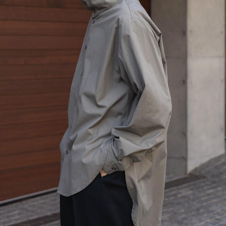 【2.24[wed]20:00‐PRE‐ORDER】OVERSIZED STAND COLLAR LONG SHIRT(GRAY)