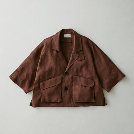 Linen dolman half sleeve jacket(Brown)
