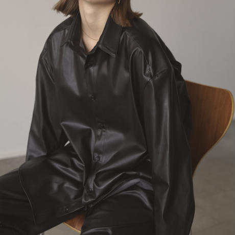 SYNTHETIC LEATHER CLASSIC OVER SHIRT(BLACK)