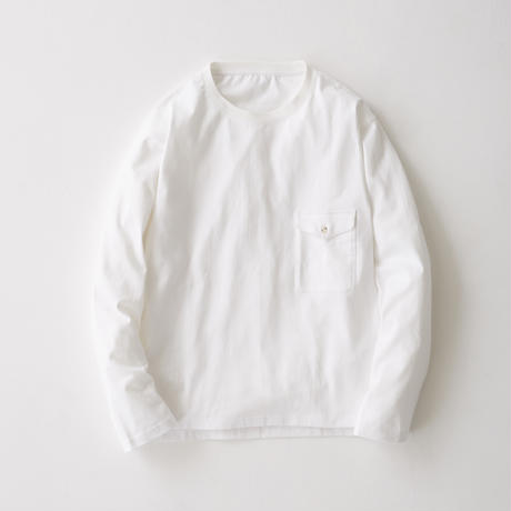 Flap Pocket Long Sleeve Tee(White)