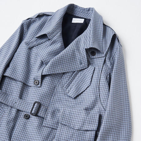 Wool 3way holster chest bag trench coat((Blue Gun club check))