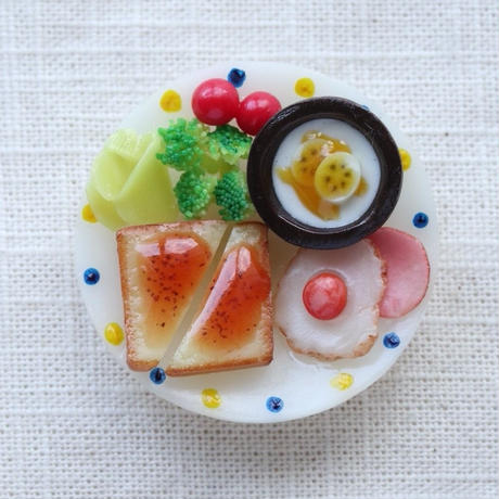 【受注製作】朝食プレート ジャムパン+バナナヨーグルト マグネット