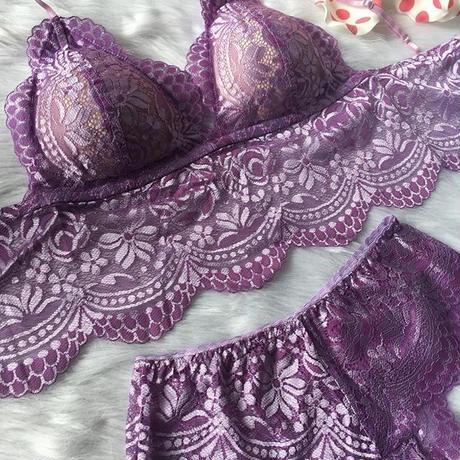 パッド付きレースブラ lavender × light purple