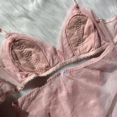 Fringe flower lace bralette set up  pink × pink 【A-0014-PI】