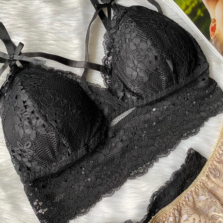 bralette 2 panties set black