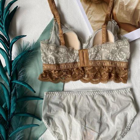 選べる2size bicolor lace bralette set  up【A-0180-BR 】