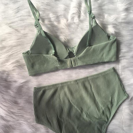 cotton  green bralette high set up