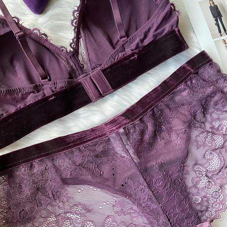 パッド付き velor bralette set up deep purple