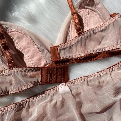 Fringe flower lace bralette set up brown × pink beige