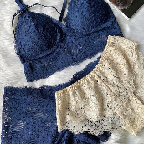 bralette 2 panties set navy